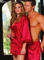 Wholesale Women sexy underwear Satin Robe Pajamas Silk Robes For Women Bathrobe Dressing Gown Negligee