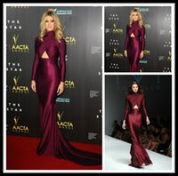 Wholesale 2015 Michael Costello Long Sleeve Prom Dresses Burgundy Mermaid Evening Dress Backless Formal Women s Party Gowns Custom Made