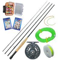 Wholesale Best Cheap fly fishing set fishing rod and reel set pics with box fly lure CNC fly reel backing leader line