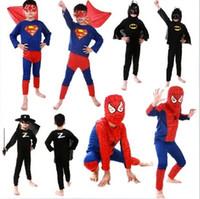 al por mayor negro hombre araña para los niños-Desgaste del funcionamiento del juego de la ropa de Halloween Los niños del hombre araña Negro Rojo Superman Batman Zorro Baby traje de Cosplay del mono
