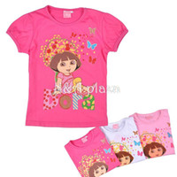 Wholesale Dora the Explorer Girl Clothing summer Shirt Short Sleeve White Pink Rose Cotton T SHIRT