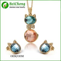 aqua christmas decorations - BC Jewelry K Gold Plated Imitation Pink Opal Stone Cat shape Lovely Jewelry Set christmas decoration BC