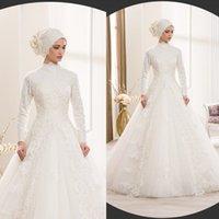 islamic wedding dress - High Neck Ball Gown Lace Muslim Wedding Dresses Long Sleeve Tulle Islamic Wedding Gowns Appliques Vestido De Noiva