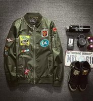 aviator jacket for men - Fall Bomber Jacket Men Army Green Jackets Mens Stand Collar Patched Badges Aviator Jacket For Men