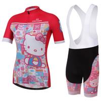 bicycle kitty - Cartoon New two design Summer Women Cycling Bike Bicycle Short Sleeve Jersey Jerseys Wear And Shorts Hello Kitty Black red bib non bib set