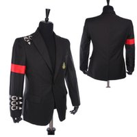 Cheap Rare Classic MJ Michael Jackson BAD Jacket Informal Buckle Badge Suit Black Punk Casual Blazer