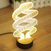 5 pieces lot 3d spiral lamp lighting 3d wood mood lamp bulbing light cheap mood lighting