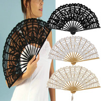 Wholesale Colors White Ivory And Black Fashion Lace Hand Fans Woode Hand For Bridal Wedding Decoration Cosplay Fans Tool
