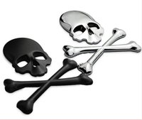Wholesale 3D M Skull Metal Skeleton Crossbones Car Motorcycle Sticker Label Skull Emblem Badge car styling stickers accessories decal
