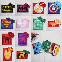 Wholesale 2015 Hot Superhero cape Cape Mask superman batman spiderman super hero capes for kid Birthday Party Cosplay