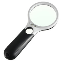 Wholesale High quality LED Light Handheld Reading Magnifying Glass Cool Lens Magnifier Jewelry Loupe x large lens x small lens