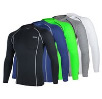 base layer - Compression Quick Drying Men Tight Cycling Shirts Top Outdoor Running Sports Base Layer Long Sleeve Men Shirts Bodybuilding Fitness Clothing
