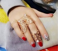 Wholesale Hot Trendy Fashion Jewelry Metal Gold Silver Personality Crystal Punk Hollow Flower Conjoined Suit Rings Female