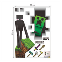 Wholesale 3D Walls Minecraft Wall Stickers Creeper Decorative Wall Decal Cartoon Wallpaper Kids Party Decoration Christmas Wall Art Exclusive