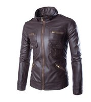 absolute winter - Fall New Autumn And Winter Fashion Men s Leather Jacket Coat Solid Absolute High Quality Water PU Leather Collar Man Locomotive