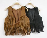 Wholesale New Fashion Girls Autumn Fringe Waistcoat Kids Solid Tassels Baby Kids Clothes Children Outerwear BH1266