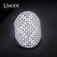 armour ring - UMODE White Gold Plated Armour Ring for Fashion Girl Hollow Out Shield Shape Ring New Elegant Design Big Ladies CZ Ring UR0087