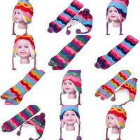 baby shawl pattern free - 3 Colors Set Baby Toddler Knitted Wool Heart Pattern Hat Cap Earflap Beanie Wave Striped Streak Scarf Shawl DQX