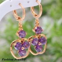 adorable earrings - Adorable Fashion purple cz Amethyst K gold plated earrings fashion jewelry E016 Drop Earrings