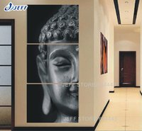 canvas picture frames - Canvas Painting High Quality Hand painted Art Religion Buddha Panel Wall Oil Painting On Canvas Framed