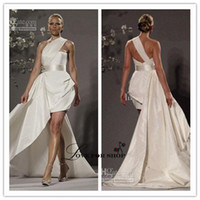 Wholesale Sexy Short Wedding Dresses One Shoulder Crystal Beaded Detachable Train Mini Beach Bridal Gowns LYJ021227