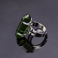 artificial quartz stone - Green Gem Stone Rings Silver Plated Artificial Emerald Quartz Crystal Hexagonal Columns Natural Stone Ring Women Christmas Gift
