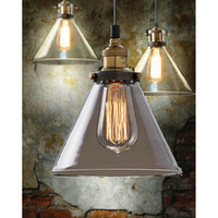 lamp shade - Retro Vintage Industrial Glass Shade Loft Pendant Light Lamp Ceiling Edison Bulb E27 Funnel Pendant Lamp Glass Chandelier