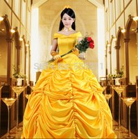 Cotton beauty and beast characters - Halloween costumes for women adult Princess Belle yellow dress Beauty and the Beast Character Carnival cosplay costumes