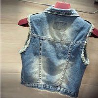 Wholesale Newest Fashion Jean Vest Women Vintage Single Breasted Hole Short Jacket Outwear Sleeveless Denim Coat Tops Plus Size