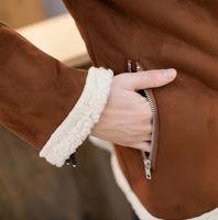berber fleece fabric - Fall Oblique zipper mens fur coats berber fleece liner suede fabric wadded jacket mens teenage leather clothing cotton padded coat