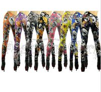 Wholesale New arrival Women s Vintage skull clothes stretchy skeleton printed tattoo Skinny Jeans Leggings