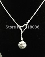 baseball circle - 10PCS Vintage Silvers Baseball Softball Heart Charms Choker Sweater Chain Couple Necklaces Pendants Jewelry DIY For Woman L480