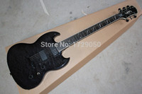 Cheap Free Shipping Chinese instrument shop EP CUSTOM 24 Frets SG Model Black decorative pattern active pickups electric Guitar 11 11