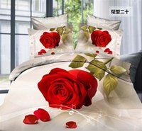 Cheap Red rose princess 3D reactive printed cotton polyester 4pcs comforter cover duvet cover bedspread bedding set Queen size 2286