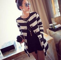 Wholesale Women s autumn new Europe catwalk models black and white striped coat thick long sleeved jacket and long sections