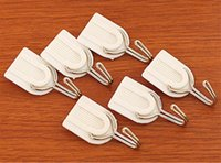 Wholesale 2015 New Self Adhesive Wall Hook Hanger White Family Wall Hanger Hats Bag Key Bathroom Kitchen Sticky Holder