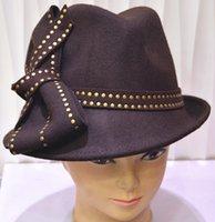 felt top hat - Vintage Winter Dress Women Wool Felt Hat Winter Hat Top Hat Millinery Casual Pure Wool Felt Hat with bowknot