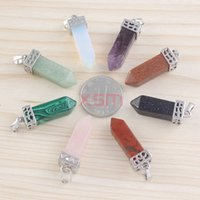 Europe and America amethyst rock crystal - 10ps Natural Crystal Pendant Square Crystal Pendant Amethyst Rose Quartz Rock Crystal Quartz Pendant For Lovers
