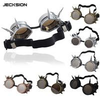 Wholesale JECKSION Fashion Rivet Steampunk Windproof Mirror Vintage Gothic Lenses Goggles Glasses