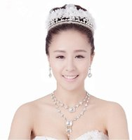 fashion beaded earrings - 2015 New Fashion Wedding Bridal Crystal Rhinestone Pearls Beaded Crowns Hair Accessories Headband Korean Tiara Necklace Earrings Jewelry Set