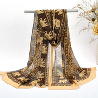 animals families - Christmas Necessary Women Elegant Scarf Exotic Pattern Chiffon Fashion Accessories Scarves Elephant Design Family Gift Mix Color