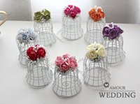 Wholesale New Wedding Favor Boxes White Metal Bell Birdcage Shaped with Flower Wedding Favor Supplies High Quality Wedding Candy Boxes