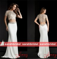 beaded special occasion dresses - 2015 Two Pieces Evening Party Dresses Special Occasion Formal Wear Luxury Beading Short Sleeve Crop Top Rhinestone Belt Mermaid Skirt
