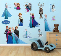 Wholesale Wall Stickers Home Decor Wall Decals Girls Kids Room Frozen Elsa Anna Wall Stickers Decals Removable Art Decor Home Kids Wall Sticker