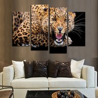 Cheap printed 4 Panels (No Frame)Yellow Spots Leopard Painting Canvas Wall Art Picture Home Decor Living Room - on Canvas Print Modern Painting