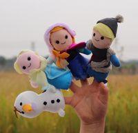 Wholesale 4 Cartoon Finger Puppet Finger Toy Finger Anna Elsa Hans Kristoff Doll Baby Dolls for Kid s Fairy Tale Finger Toys Cheap In Stoc