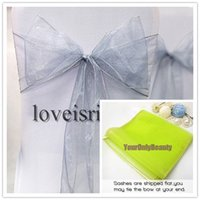 Wholesale Silver quot cm W x quot cm L Sheer Organza Sashes Wedding Party Banquet Chair Organza Sash Bow