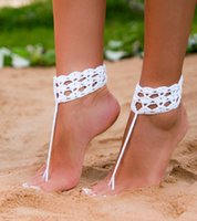 beach wedding shoes - White crochet barefoot sandal Crochet Anklets Crochet shoes sandal Wedding barefoot sandal Beach bride shoes Bridesmaid barefoot Foot thongs