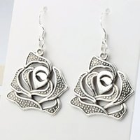 antique rose china - 2016 hot x44mm Antique Silver Hollow Blooming Rose Flower Charm Earrings Silver Fish Ear Hook Chandelier E179