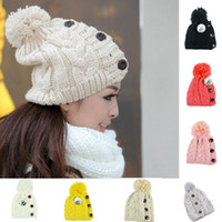 Wholesale Winter Cap Women Warm Woolen Knitted Fashion Hat For Gilrs Jonadab Button Twisted Beanie Cap Woman Fur Cap Accessories